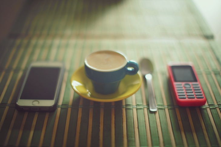 espresso with smartphone and mobile